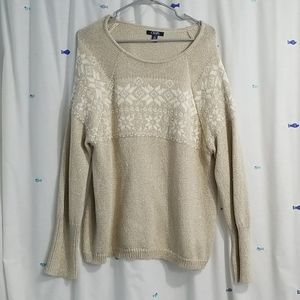 Chaps gold and cream sweater -XL